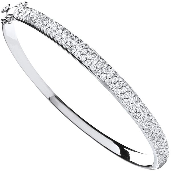 18 grata white gold diamond pave set bangle