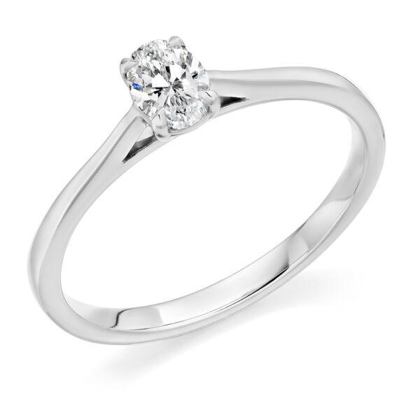 9 carat white gold oval diamond ring