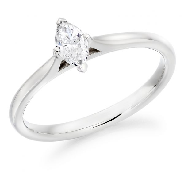 9 carat white gold solitaire marquise diamond ring