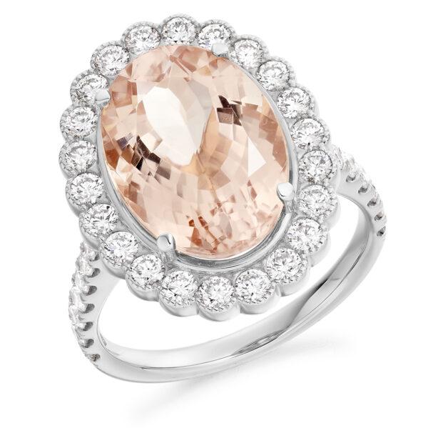9 carat white gold diamond and morganite ring large