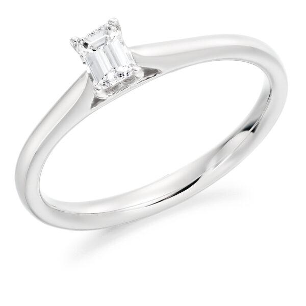 9 carat white gold emerald cut diamond solitaire ring