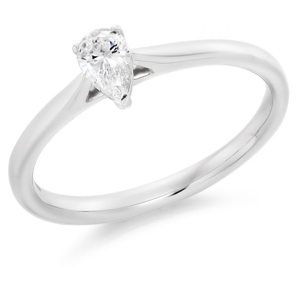 9 carat white gold pear shape diamond solitaire ring