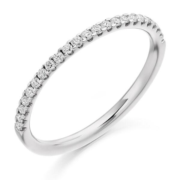 9ct white gold diamond micro set wedding ring