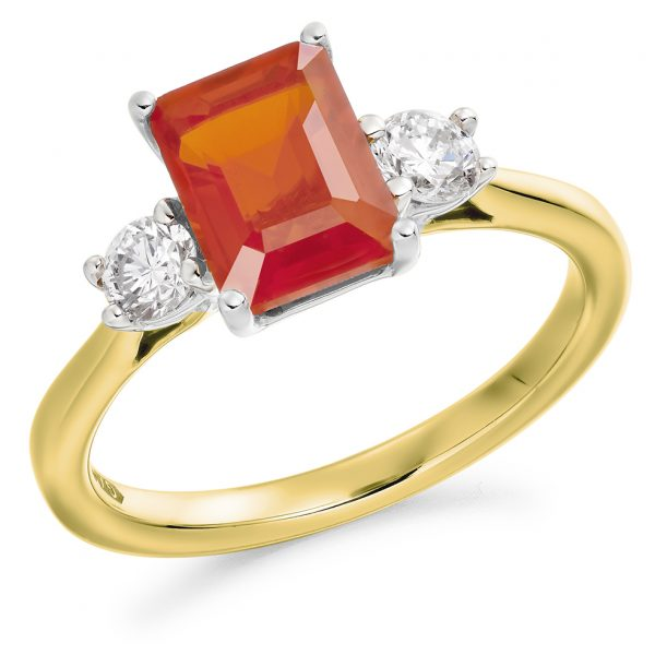 9ct yellow gold diamond and fire opal trilogy ring
