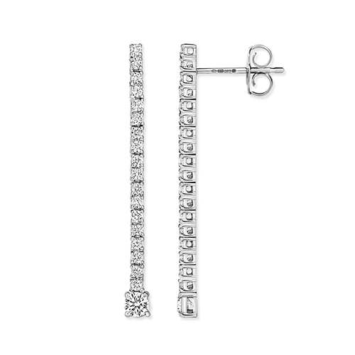 18 carat white gold diamond drop earrings