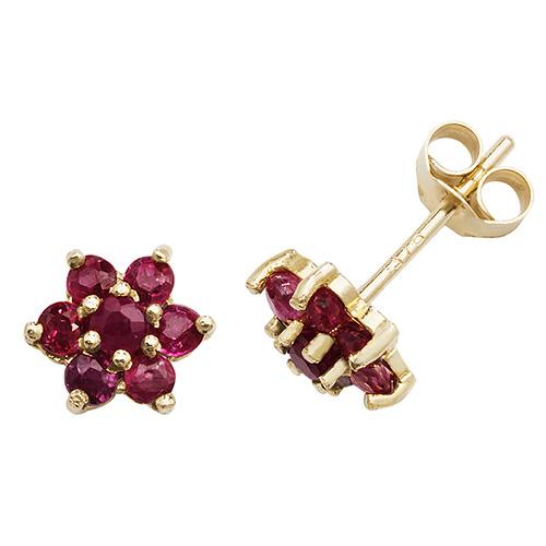9 carat yellow gold ruby flower earrings