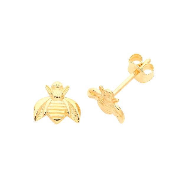 9 carat yellow gold bee earrings