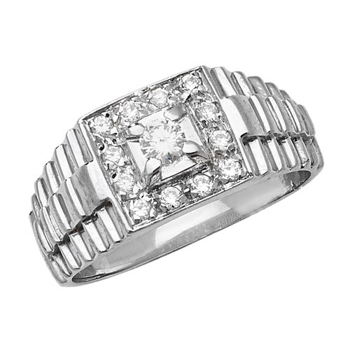 sterling silver cubic zirconia gents ring rolex style