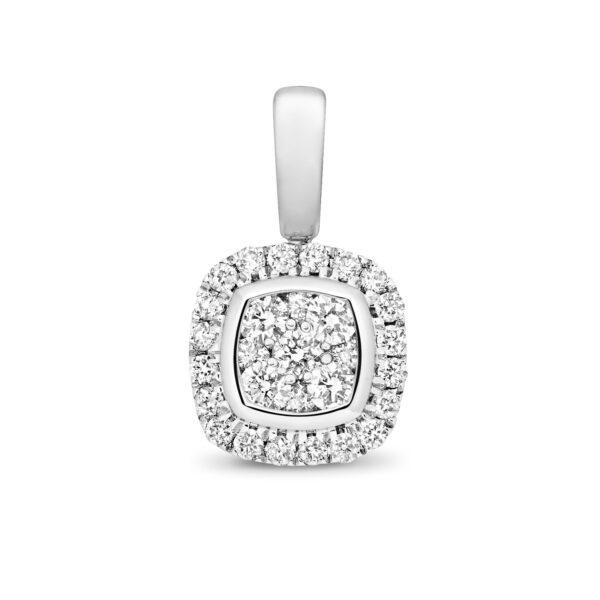 9 carat white gold cushion shaped diamond pendant