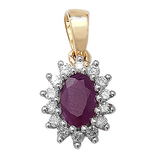 9 carat yellow gold ruby and diamond cluster pendant