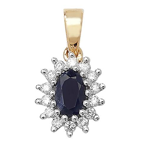9 carat yellow gold sapphire and diamond pendant