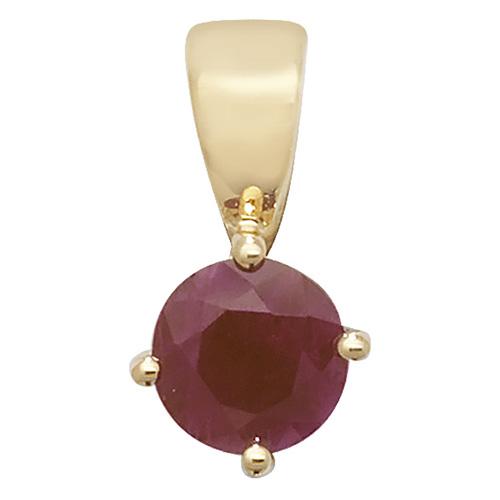 9 carat yellow gold round ruby pendant