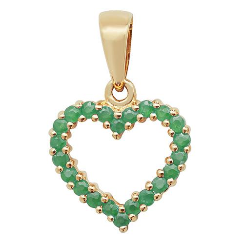 9 carat yellow gold heart shape emerald pendant
