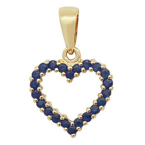 9 carat yellow gold sapphire pendant heart shape