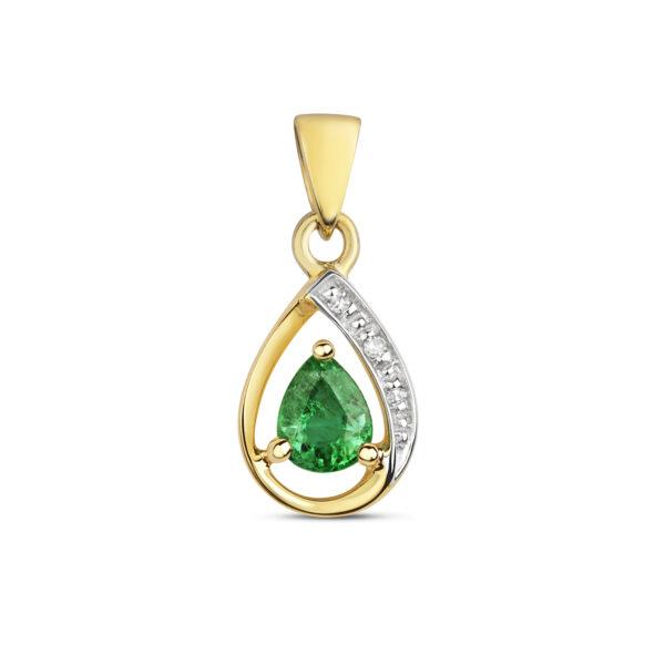 9 carat yellow gold emerald and diamond pendant