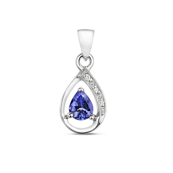 9 carat white gold tanzanite and diamond pear shape pendant