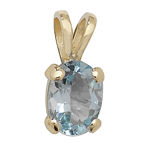 9 carat yellow gold blue topaz pendant