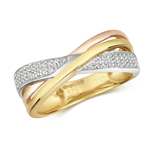 9 carat trim-colour gold diamond dress ring