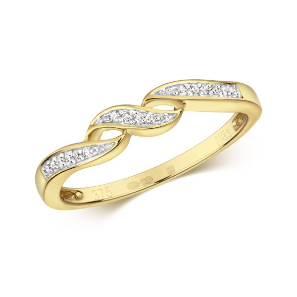 9 carat yellow gold diamond wave ring