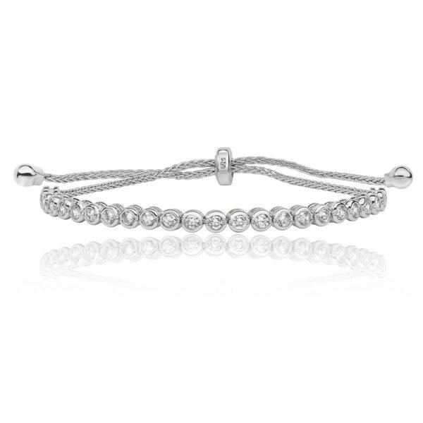 sterling silver cz pull bracelet