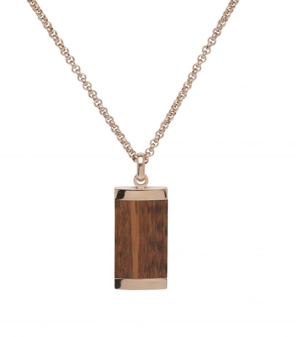 steel pendant leopard wood and chain