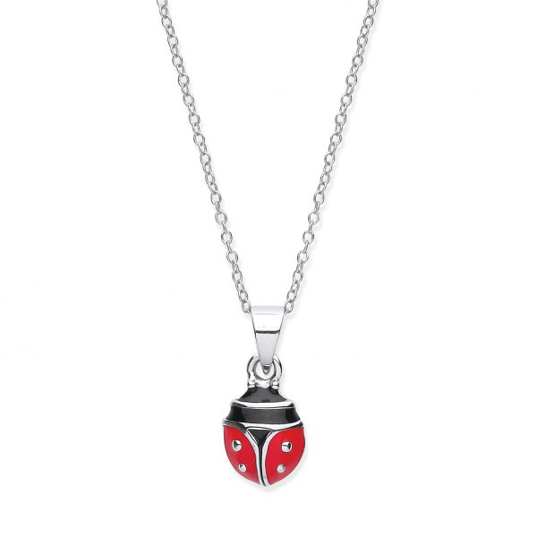 silver ladybird pendant and chain
