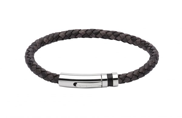 unique & co antique black leather bracelet