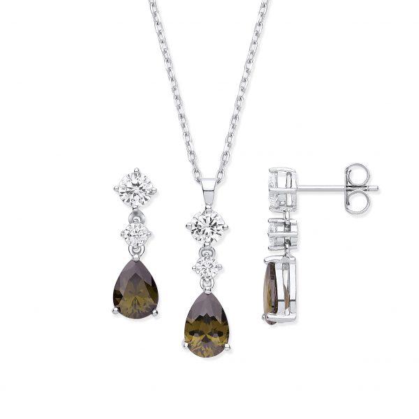 sterling silver smokey quartz cz and white cz jewellery set