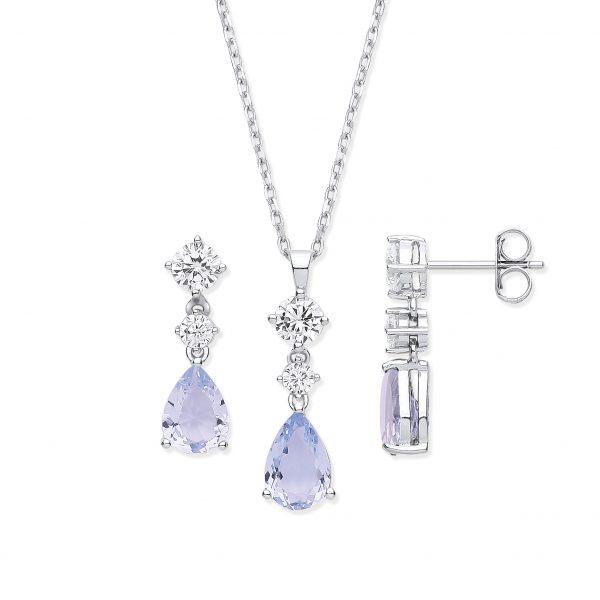 sterling silver lavender cubic zirconia jewellery set pendant earrings