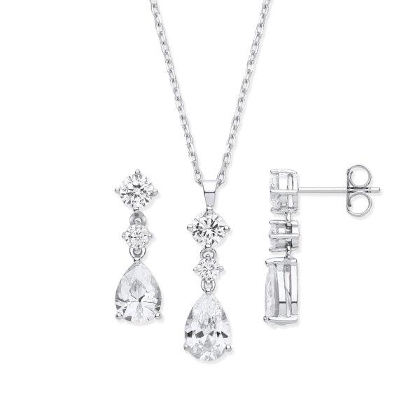 sterling silver white cz jewellery set