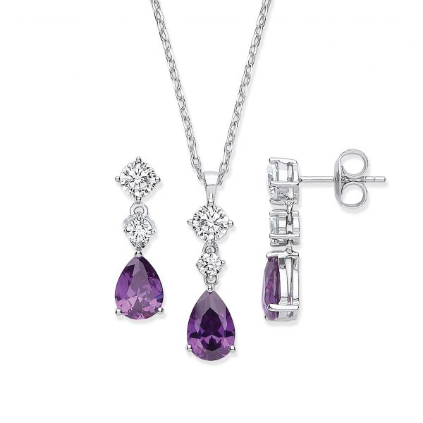 sterling silver amethyst cubic zirconia pendant and earrings set