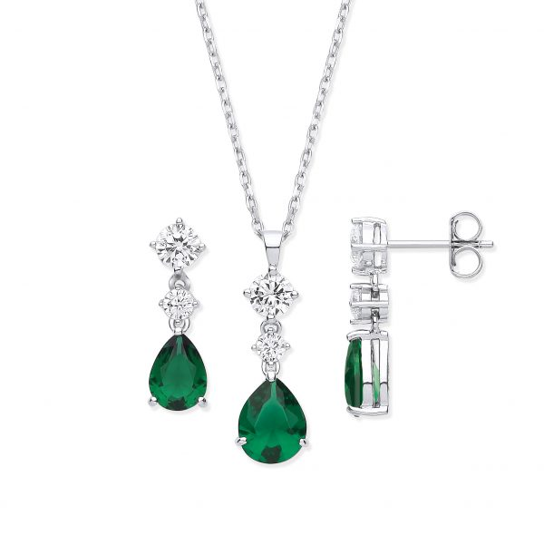 sterling silver green cz and white cz set