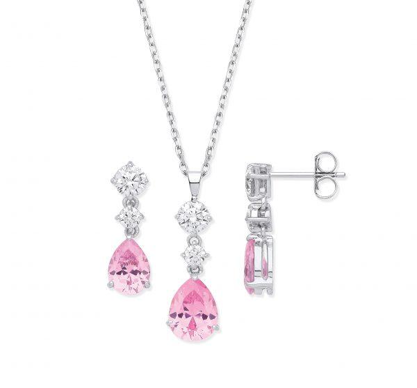 sterling silver pink cz jewellery set