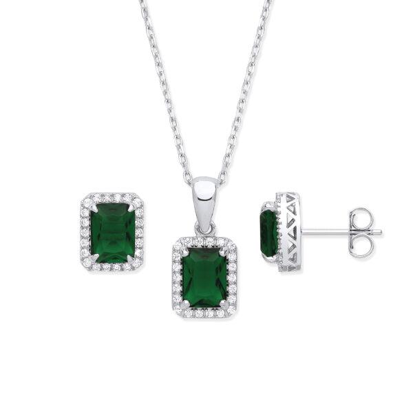 silver emerald cz set