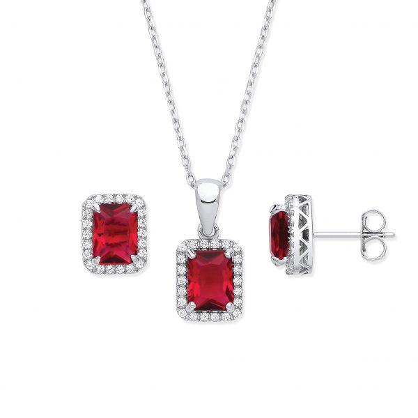 sterling silver ruby cz pillow shape jewellery set