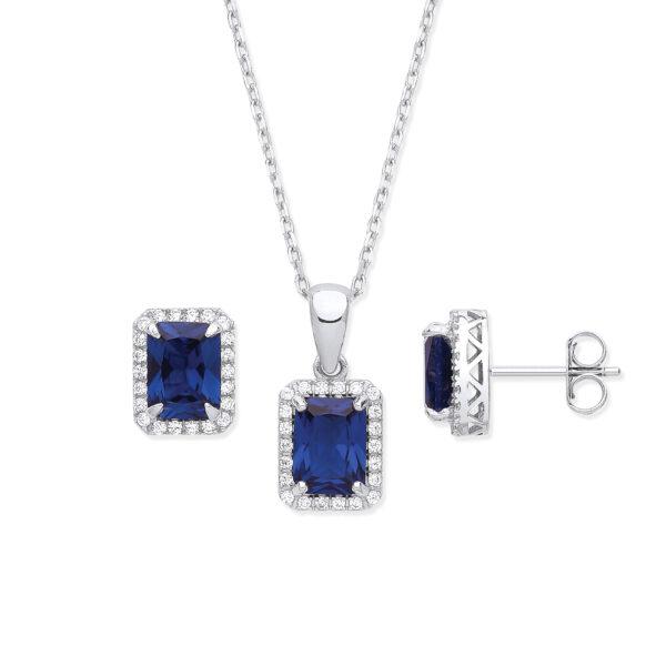 sterling silver sapphire cz jewellery set