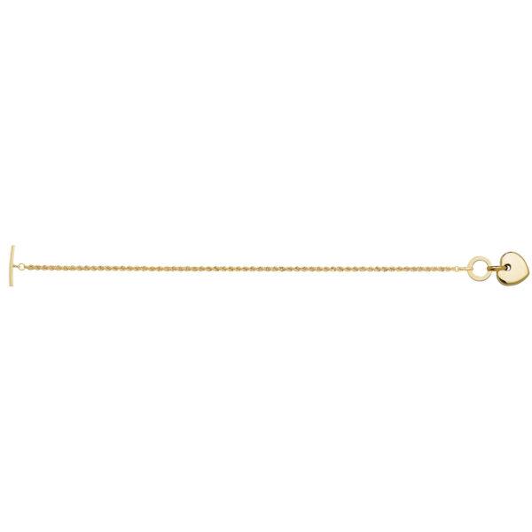 9 carat yellow gold bracelet t-bar