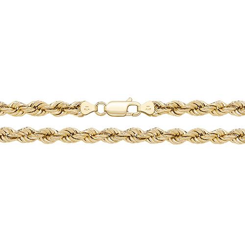 9 carat yellow gold 5mm wide rope bracelet