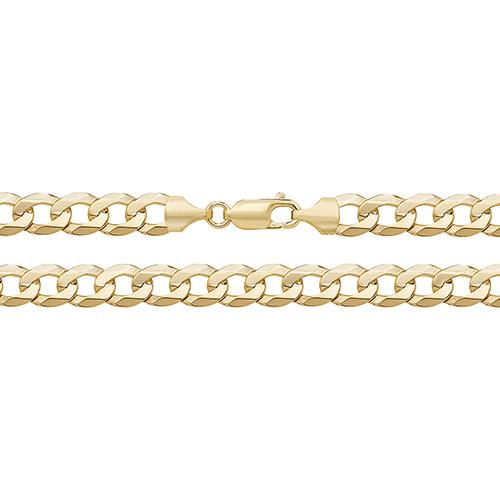 9 carat yellow gold flat bevelled curb bracelet