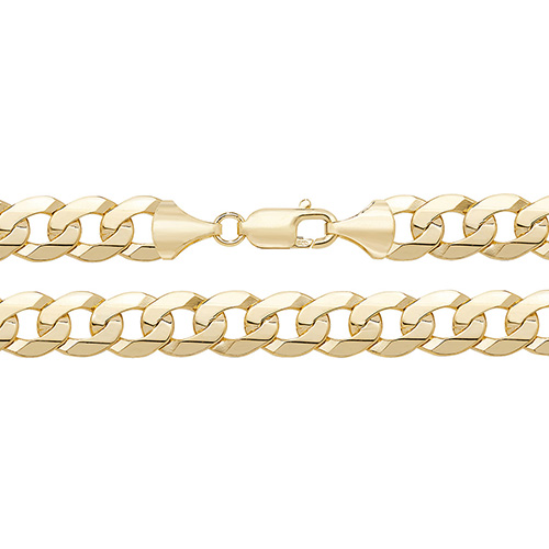 9 carat yellow gold flat bevelled curb chain