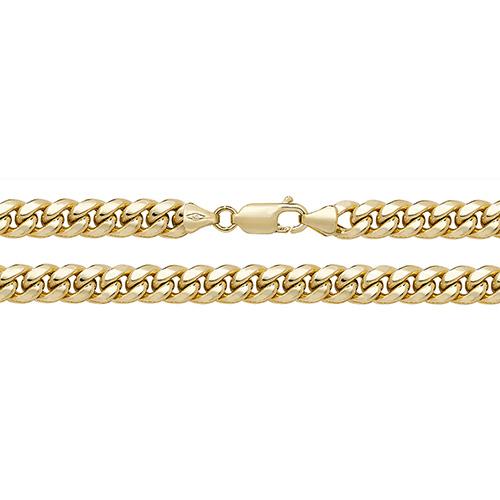 9 carat yellow gold cuban chain