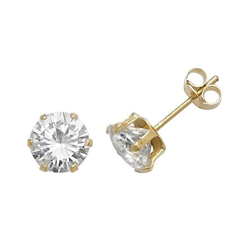 9 carat gold cz earrings 6mm