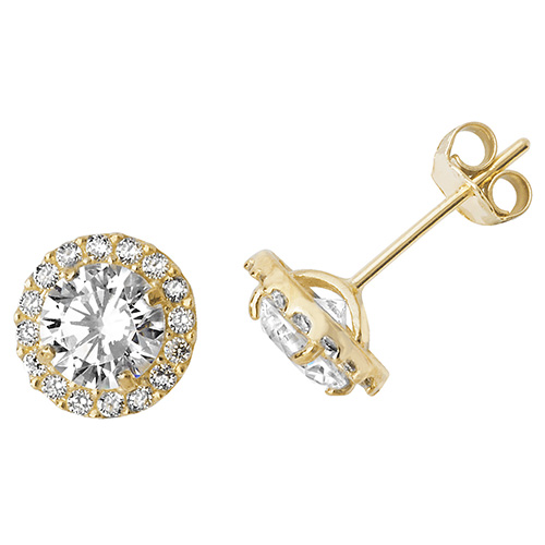 9 carat yellow gold cubic zirconia earrings