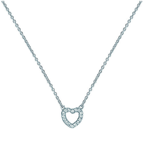 silver heart cz pendant and chain