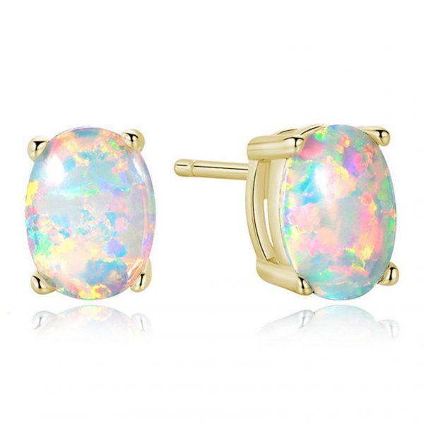 9 carat synthetic opal earrings