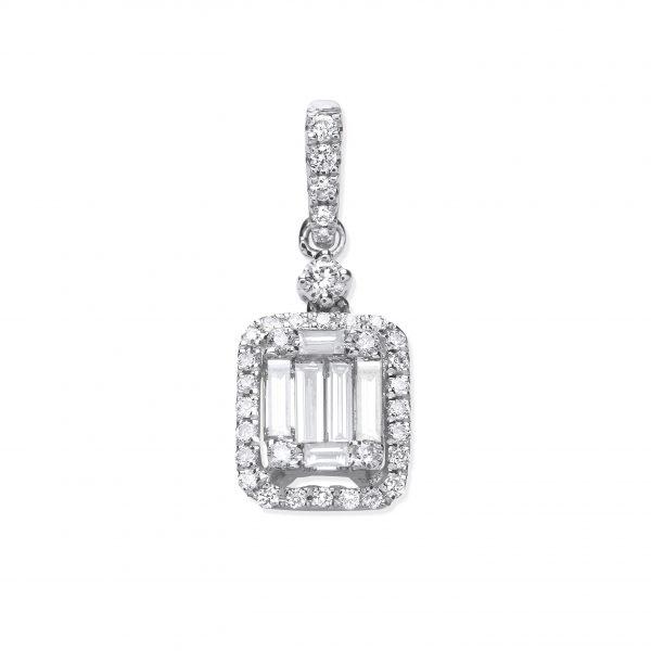 18 carat white gold diamond pendant