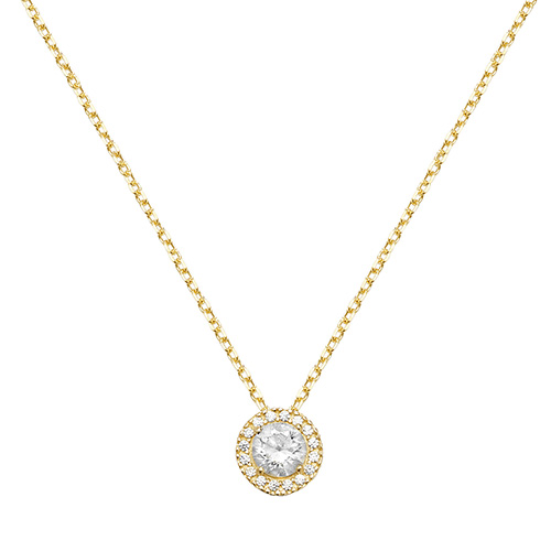 9 carat yellow gold halo pendant and chain cz