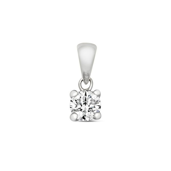 9 carat white gold diamond solitaire pendant