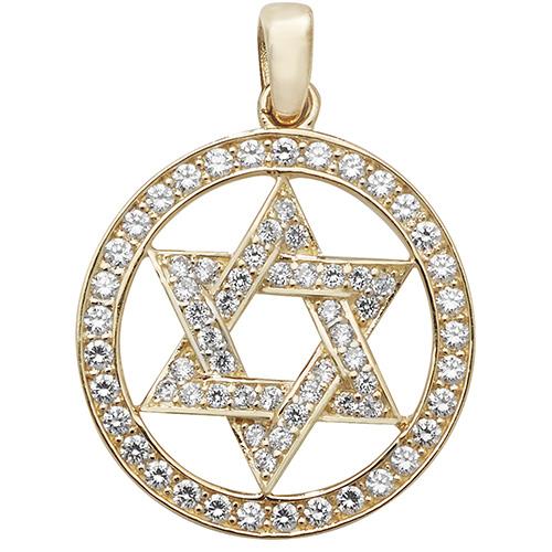 9 carat gold cz star of david pendant