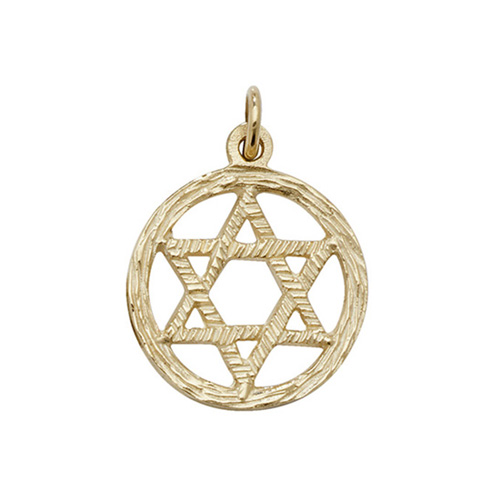 9 carat yellow gold star of david pendant in a circle